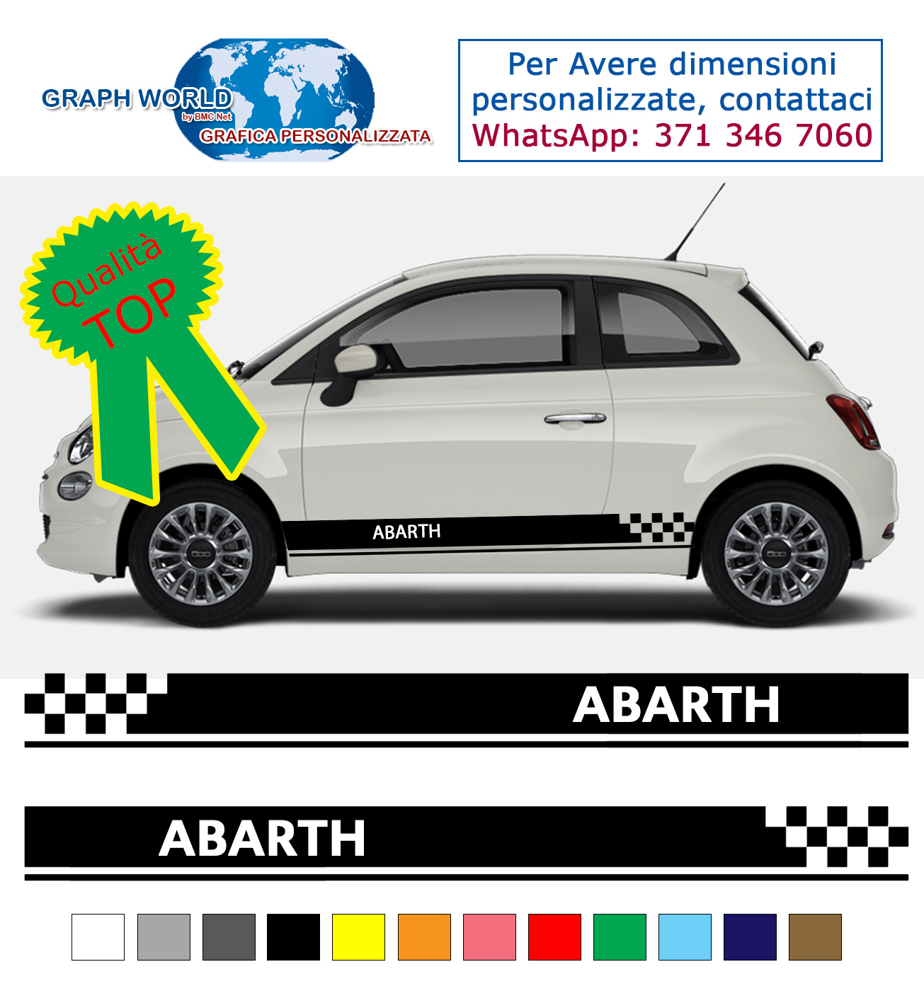 fasce adesive fiat 500 scritta abarth auto stickers tuning strisce. Black Bedroom Furniture Sets. Home Design Ideas